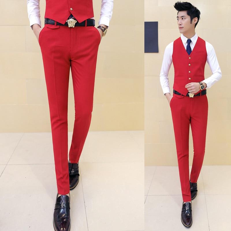 af775fb476f8d Gauche ROM 2018 Nouveaux Hommes de Mode Designer Coton Prime Pure De Couleur  Costume Pantalon Hommes