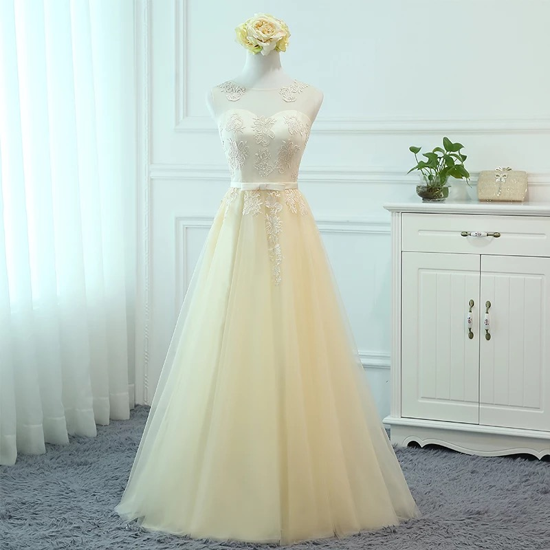 Holieveryong Lace Tulle Long Bridesmaid Dresses with Bow 2019 Open Back Party Dress Elegant Floor Length Formal Gowns