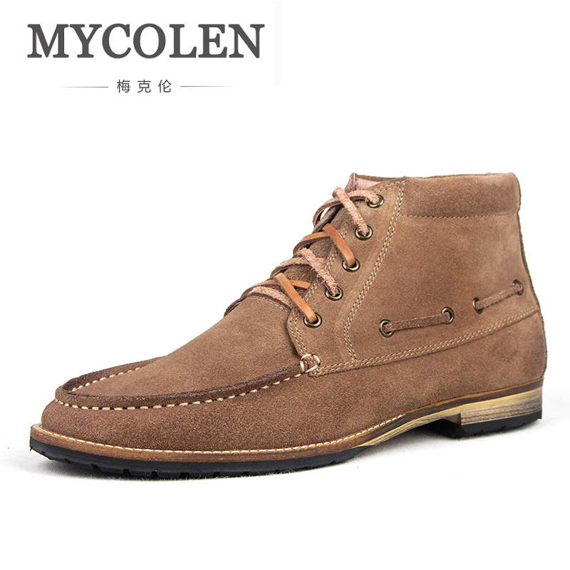 все цены на MYCOLEN Genuine Leather Boots Luxury Brand Top Fashion Men Snow Winter Work Shoes Male For Mens Ankle Boots Bota Masculina онлайн