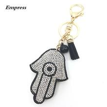 FATIMA Keychain Leather Tassel Gold Key Holder Metal Crystal Key Chain Keyring Charm Bag Auto Pendant Gift Wholesale Price(China)