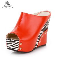Sgesvier 2018 Black White Stripe Summer Style Sexy Sandals Women's Wedges Slippers High Platform Heels for Shoes Woman B358