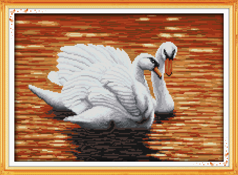 wo swans (3) , counted printed on fabric DMC 14CT 11CT Cross Stitch kits,embroidery needlework Sets, Home Decor