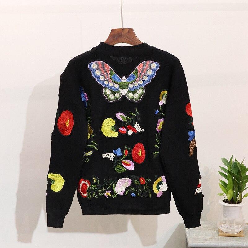 Pièce Ensemble De Vêtements 2018 Fleur Papillon Broderie Femmes Chauds Pantalon Noir Deux Costume Lâche Tricoté Chandail Nouvelle Hiver Automne 4BwTq4a