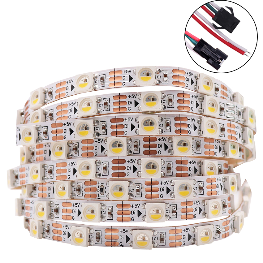 Addressable SK6812 MINI 3535 <font><b>5050</b></font> RGB RGBW led pixel strip 4mm/5mm RGBNW RGBWW WWA 60LEDs/m 5V full color as <font><b>WS2812B</b></font> 1m 2m 5M image