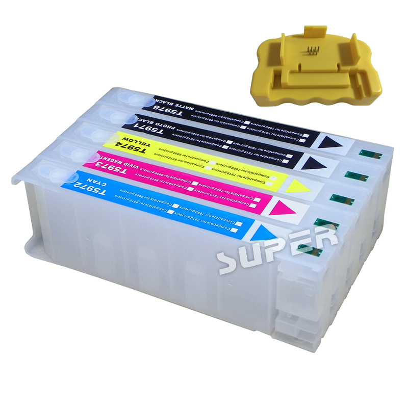 Cheap printer ink  cartridges for Epson 9710  7710   large format printer with chips and resetters (5 color and 700ml) refillable ink cartridge for epson 7800 9800 7880 9880 large format printer with chips and resetters 8 color and 350ml