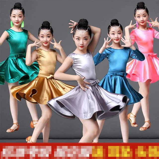 851580a14 Colors Shiny Girls Kids Junior Club Latin dance Dresses Children Modern  Ballroom Latino Dresses For Dancing Outfits