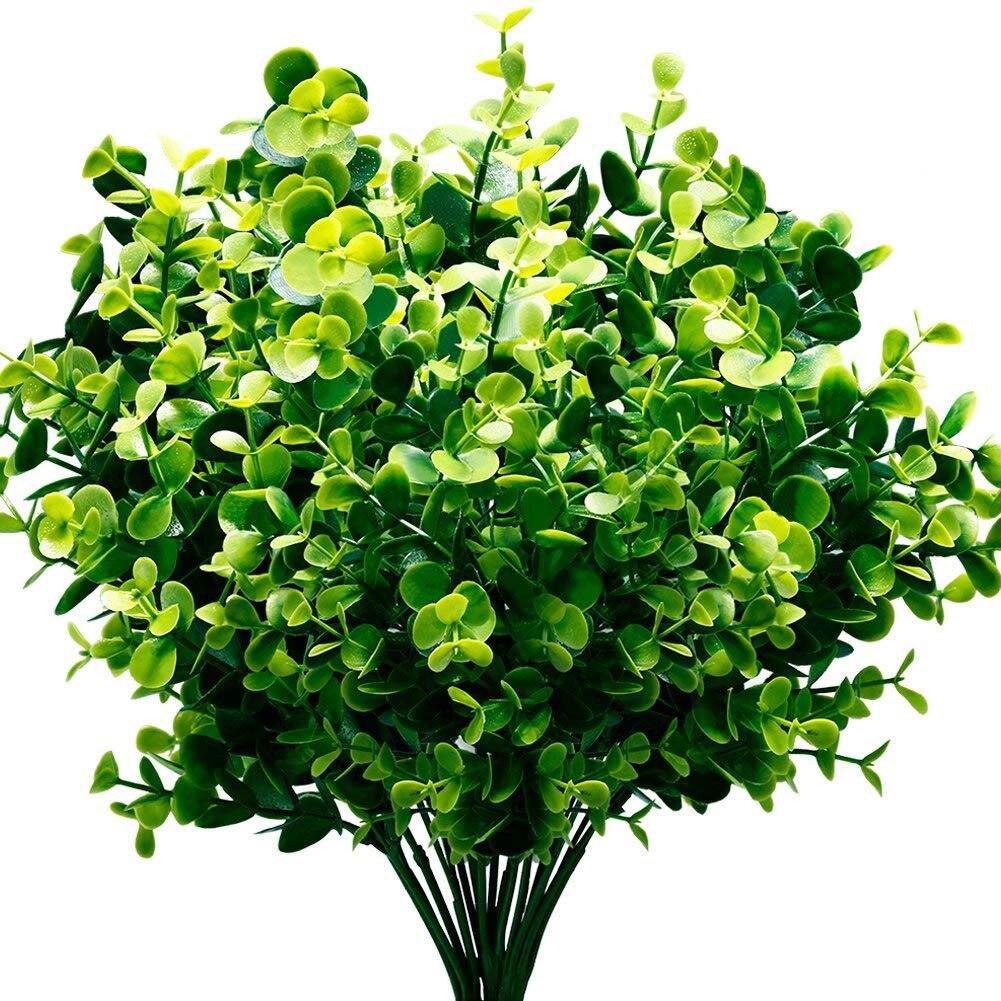 Artificial Plants Faux Boxwood Shrubs 6 Pack Lifelike Fake