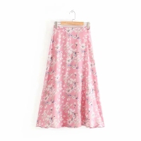 Flower Printing Fashion Women A-Line Skirt Leisure Female Elegant Skirts 2019 Summer Lady Loose Longuette P1236