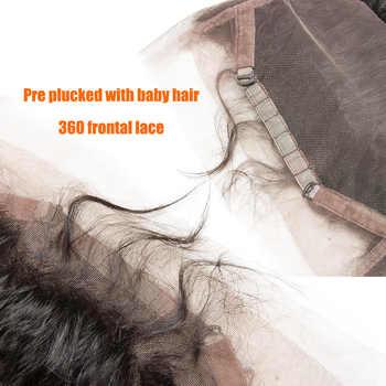 ALIBELE 毛ブラジル水波 360 レースフロント閉鎖レミー人毛摘み取らレースフロントで