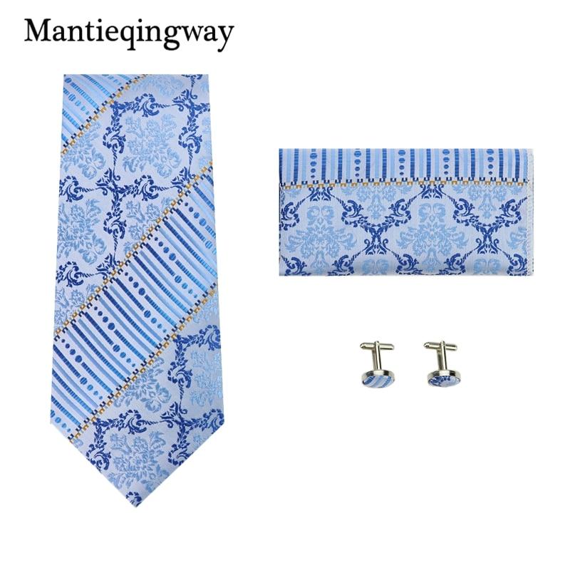 Mantieqingway Blue Jacquard Handkerchief Cuff Links Kravat Sets Paisley Floral 8.5cm Wide Gravat Hanky Cufflink Set Romantic