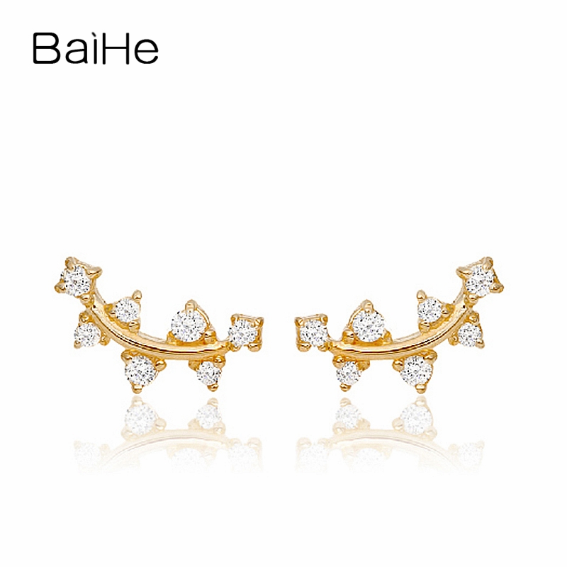 BAIHE Solid 18K Yellow Gold 0.03ct Round Engagement Genuine Natural Diamonds Trendy Fine Jewelry Elegant Unique Stud Earrings baihe solid 18k yellow gold au750 engagement