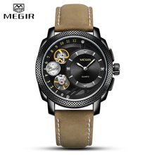 MEGIR Fashion Creative Men Watch Top Brand Luxury Business Quartz Wristwatches Leather Strap Sport Military Watches Men Clock free shipping 2pcs lot new proximity switch tl w5e1 or tl w5f1 sensor