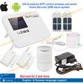 Frete grátis IOS & android APP controle Intercom kit sistema de alarme sem fio GSM home security com relé Inglês, russo língua