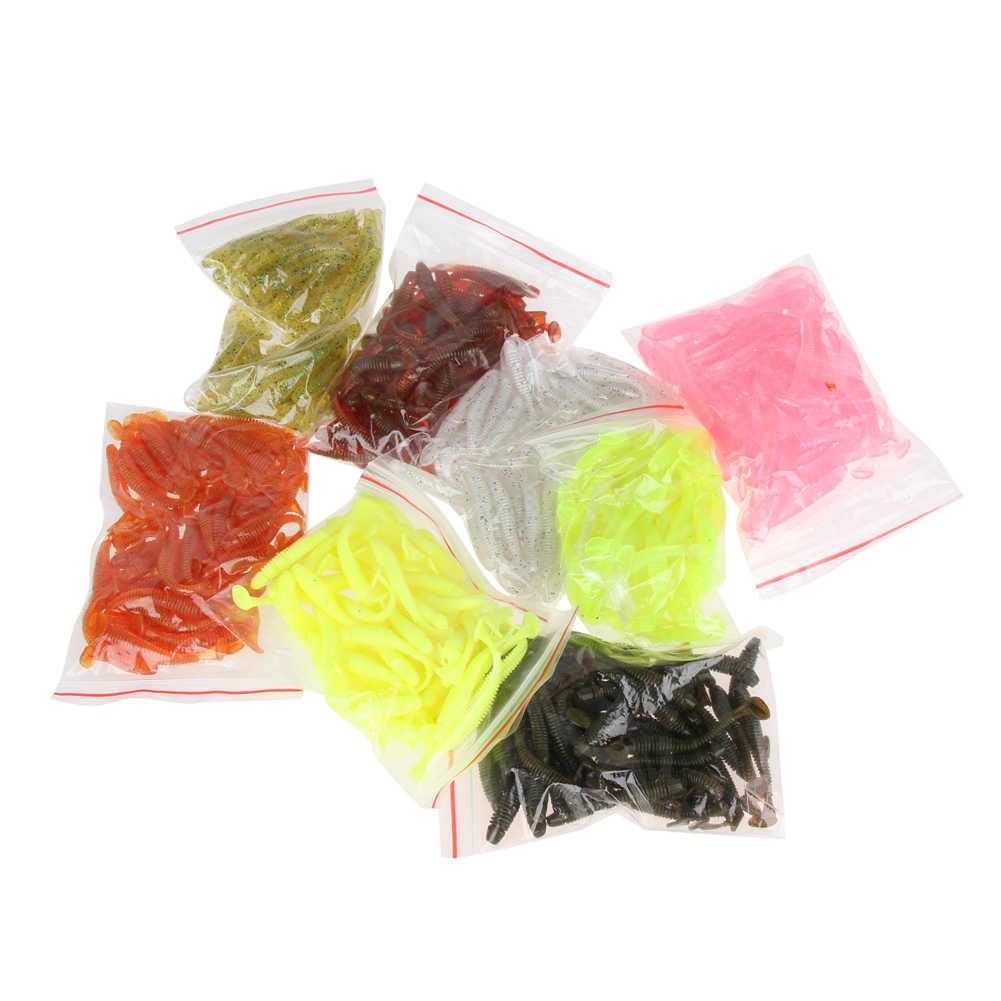 Hot البيع 50 قطعة 50 مللي متر/2 جرام طُعوم لينة الاصطناعي لصيد السمك الطعم swim Bait الحياة تشبه دودة معالجة الصيد إغراء عدة (لون عشوائي)