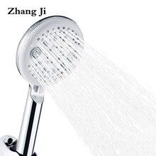 ZhangJi Modern Design 5 Modes Bathroom Shower heads Chrome-Plate ABS Handheld Switch Watersaving Head