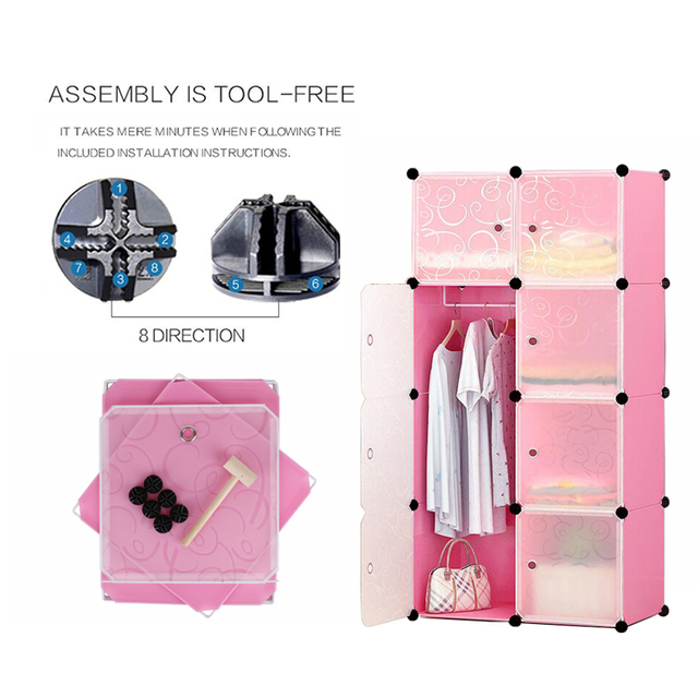 PRWMAN Furniture Clothes Wardrobe DIY Modular Shelving Simple Storage Organizing Closet Cube Design for Clothes, Shoes, Toys