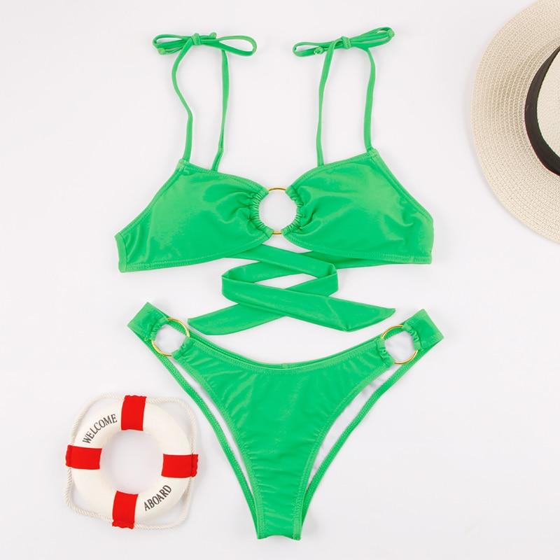 HTB1 FGcegmH3KVjSZKzq6z2OXXaE Miyouj Sexy Bandeau Bikini Bandage Swimwear Women Solid Swimwear 2019 Bathing Suits Rings Bikini Set Hollow Out Biquini Swimwear