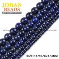 Lapis lazuli contas de Minério De Pedra Natural de qualidade Superior Rodada Solta pérolas bola 4/6/8/10/12 MM handmade Jóias pulseira fazendo DIY nova