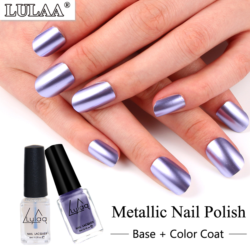 LULAA Metallic Nail Polish Colorful Mirror Effect Nail Varnish ...