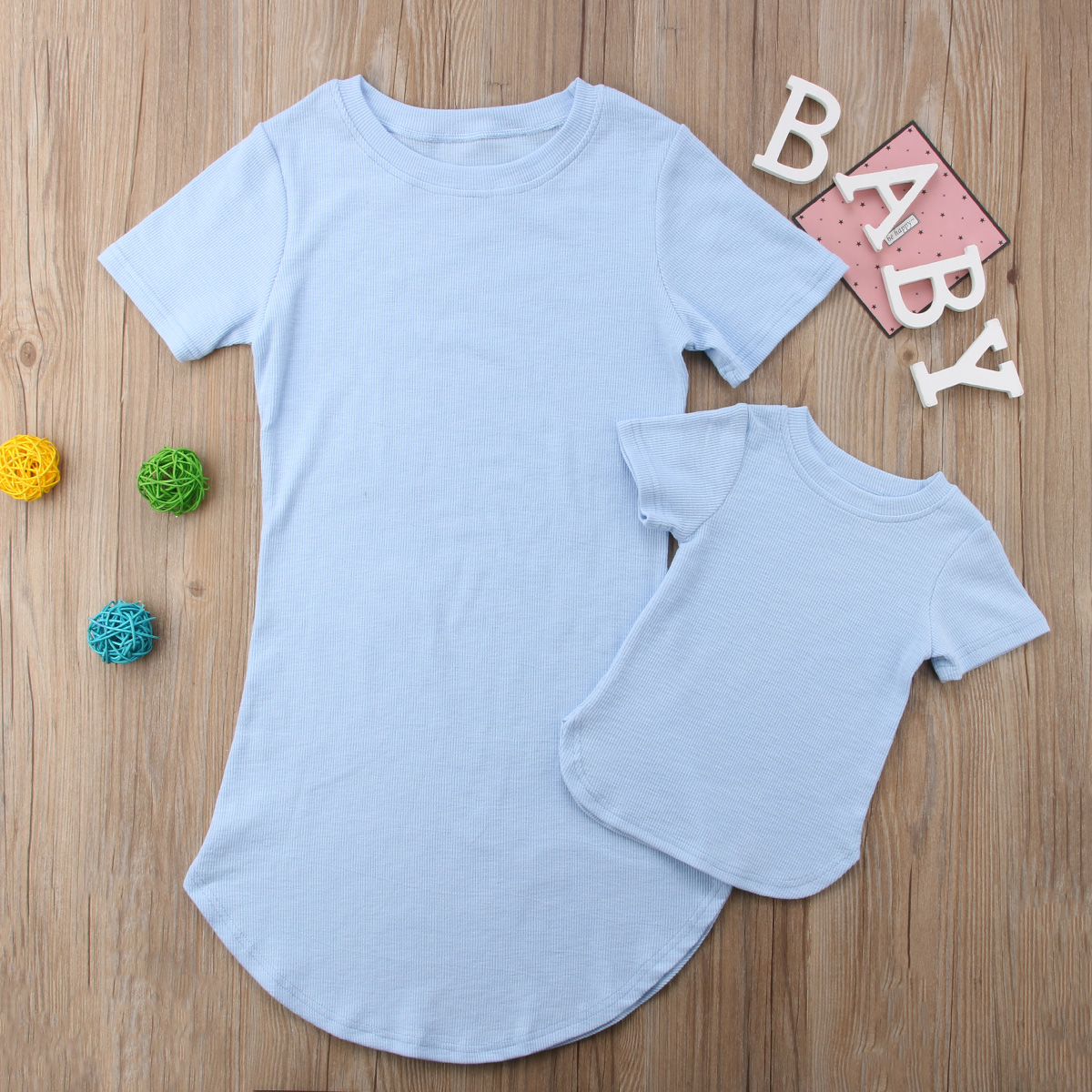 HTB1 FGjKf9TBuNjy0Fcq6zeiFXal 2019 Summer Mom Daughter Short Sleeve T shirt Dress Family Matching Outfits Baby Kid Women Party Dresses Cotton Clothes Dropship