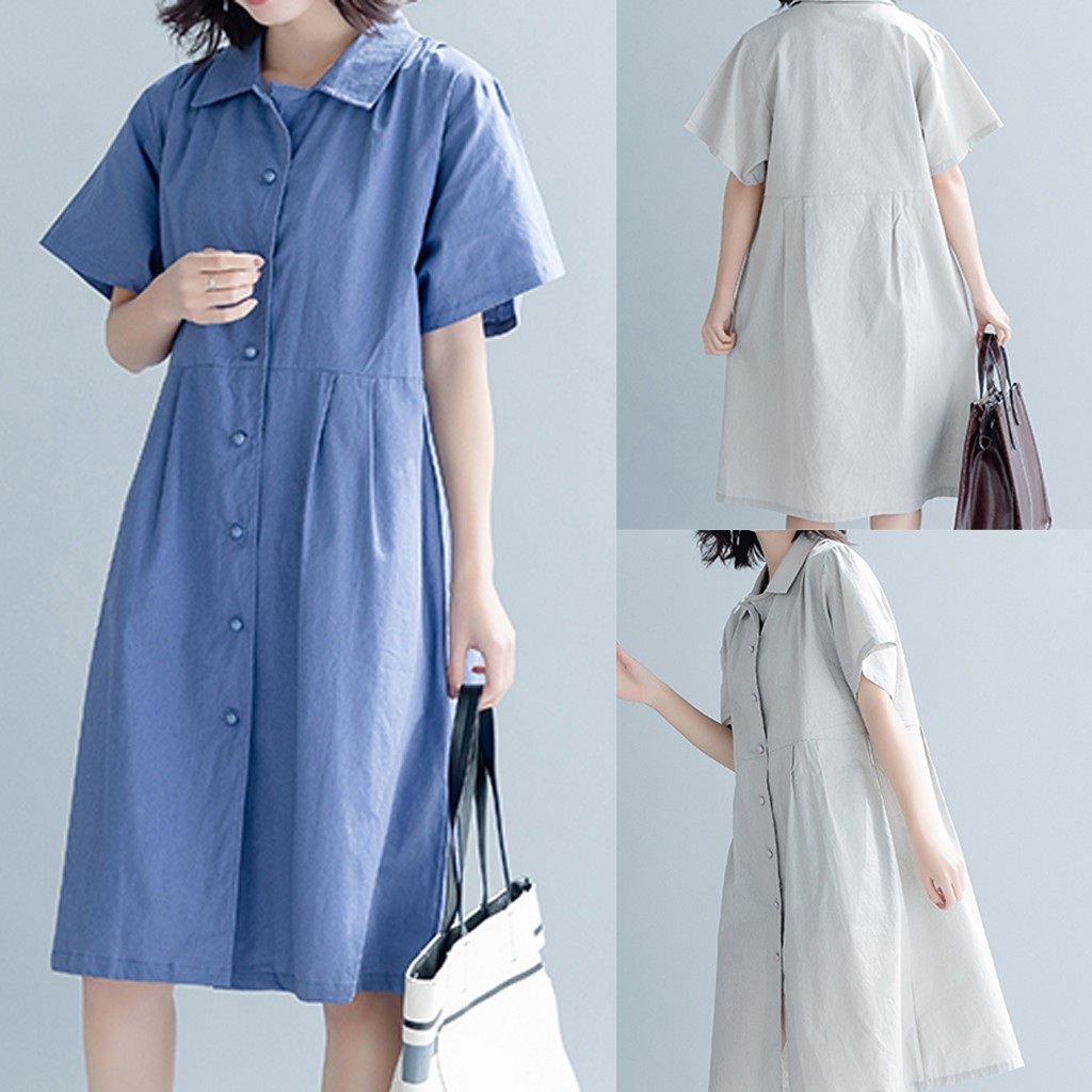 Women Linen Knee Length Loose Linen Short Sleeve Pure Color Dress Spring Summer Autumn Vestidos Making Things Convenient For The People Women's Clothing