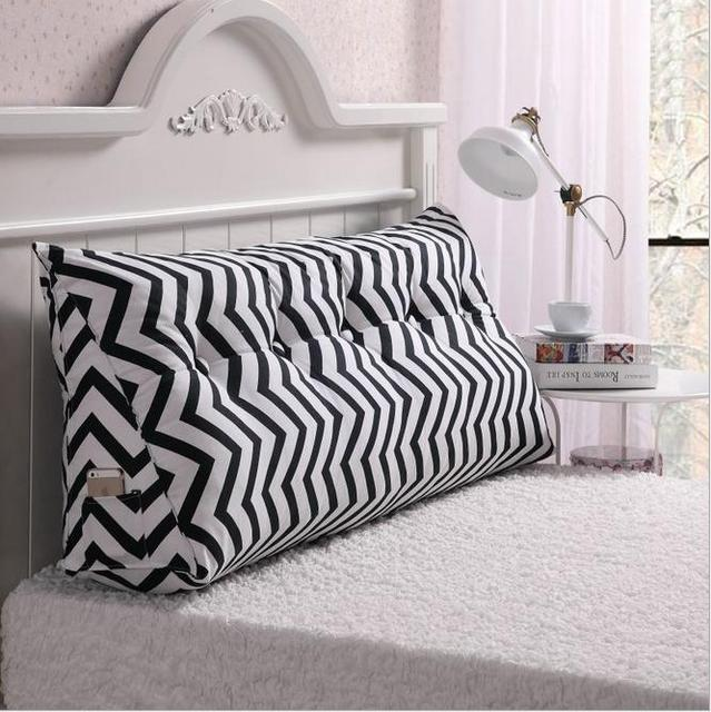 Cotton Canvas Printing Long Pillow Seat Cushion For Bed Backrest Large Waist