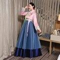 Элегантный розовый женщины ханбок корейский традиционный платье корейские костюмы национальный костюм хлопок ханбок Вышивка азии одежда
