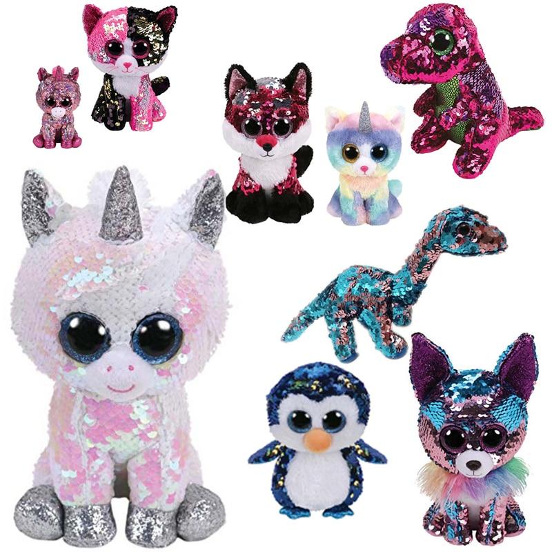 Ty Beanie Boos 6'' 15cm SPARKLE Sequin Unicorn Fox Owl Dinosaur Plush Regular Soft Big-eyed Stuffed Animal Collection Doll Toy