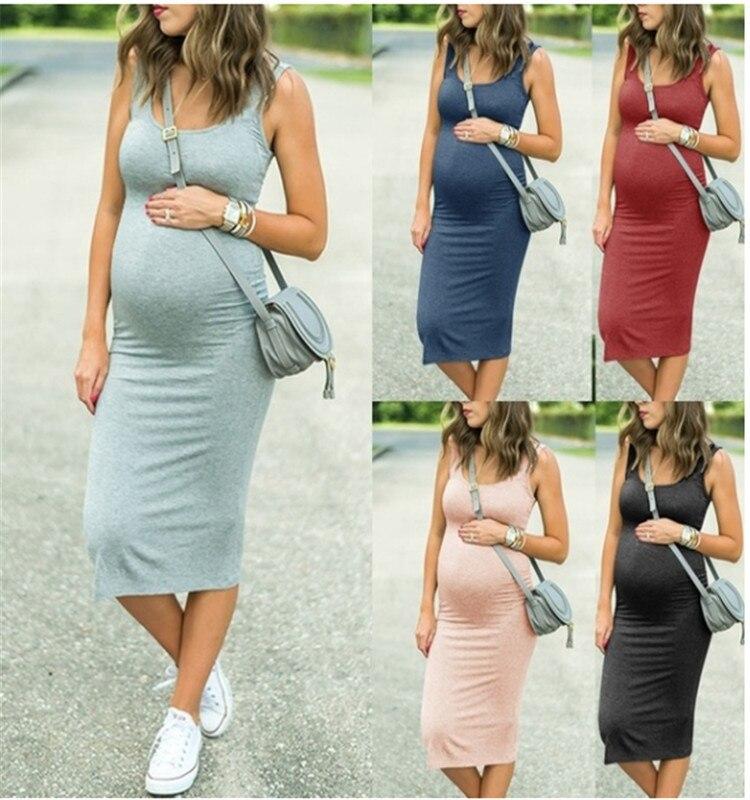 Tank Dress Ruched Sleeveless Mama Dress Pregnancy Baby Shower Dress Zwangerschaps Kleding Dress For Pregnant Woman