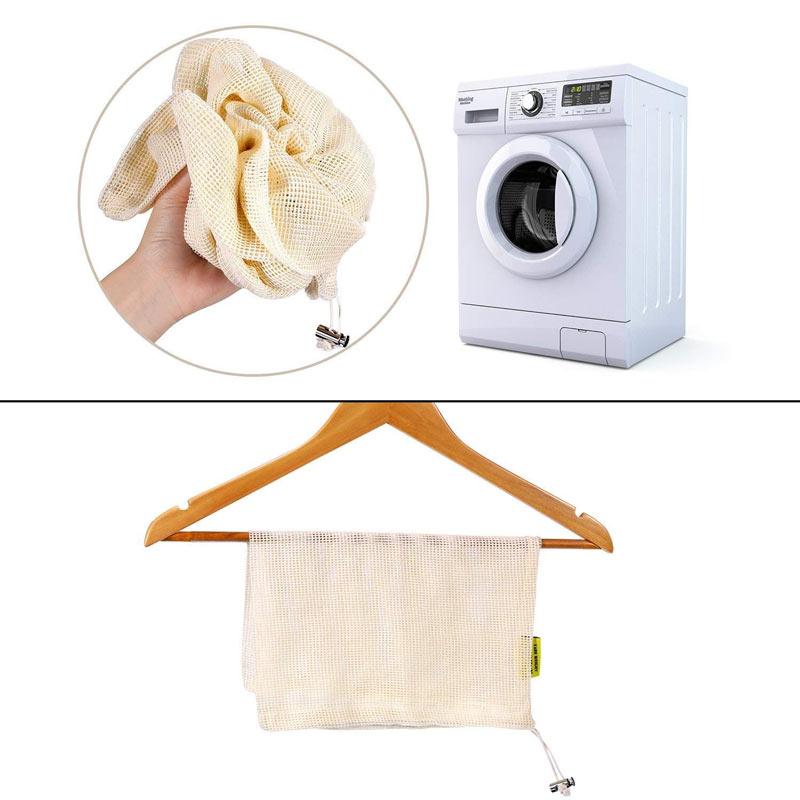 Bolsas de Malla 3 tamaños y de ALGODÓN ecológica sostenible re-utilizable reutilizable de varios tamaños y color beige 9