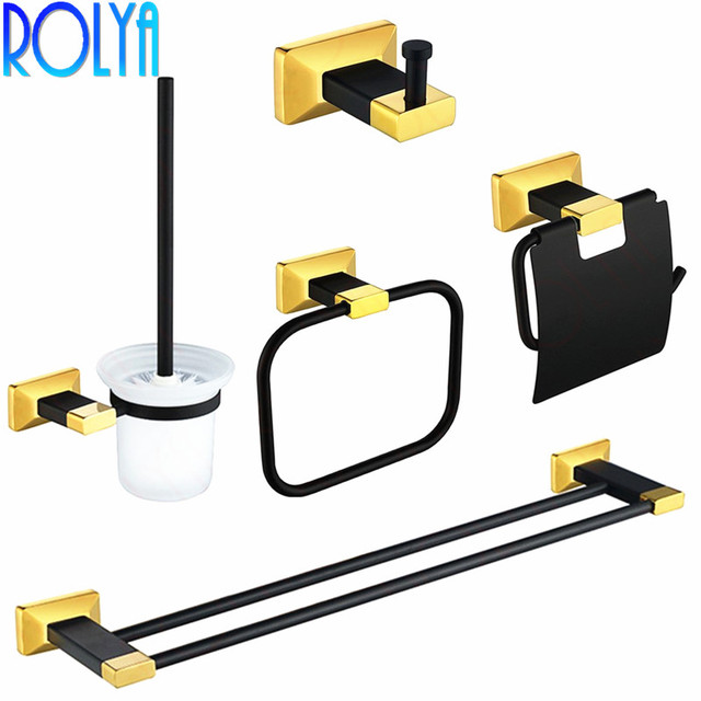 Premium Luxury Wall Mount Bath Hardware Accessories Set Black&Gold Robe Hook Paper Holder Toilet Brusher Holder Towel Rails