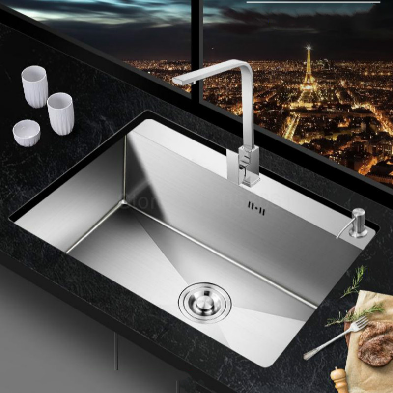 kitchen sink Handmade 304 stainless steel sink kitchen sink vegetable wash basin black welding seamless