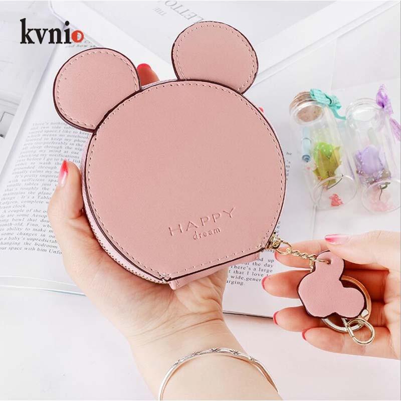KVNIO Cute Mickey Coin Wallet For Women 2018 Coin Purse Lady Small Bag borsellino Minion Purse Key Daily Pouch 7 Colors monedero