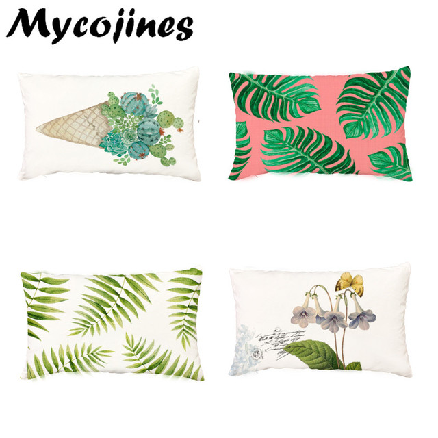 Pleasing Green Plant Monstera Palm Leaf Cushion Cover 30 50Cm Vintage Bird Flower Cactus Throw Pillow Case Decor Living Room Office Couch In Cushion Cover From Ocoug Best Dining Table And Chair Ideas Images Ocougorg