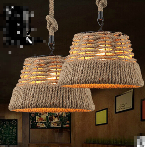 American retro loft industrial hemp pendant lights creative network bar clothing store genuine personality pendant lamp TA10176 american industrial hemp rope iron crystal pendant lights creative personality living room coffee shop 75cm retro pendant lamps