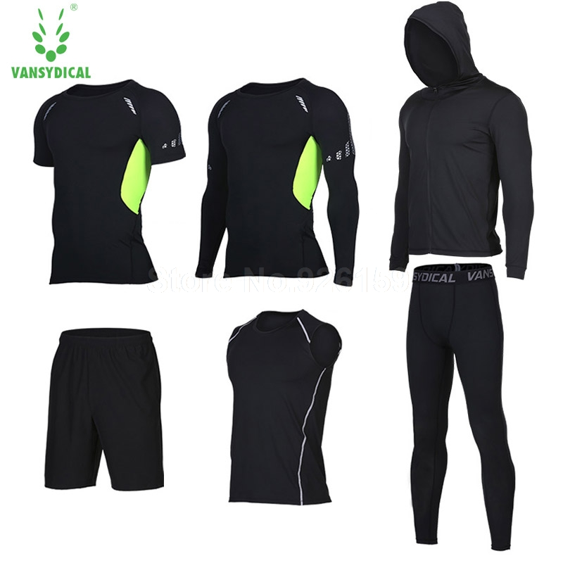 Vansydical Running Suits Men Sports Suits Men Running Compression Shirt 6pcs Gym Training Running Tracksuits Man Gym Clothing цена