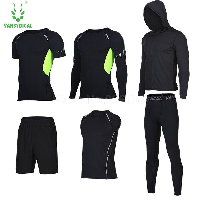 Vansydical de Course Costumes Hommes Sport Costumes Hommes de Course De Compression Chemise 6 pcs Gym Formation de Course Survêtements Homme Gym Vêtements