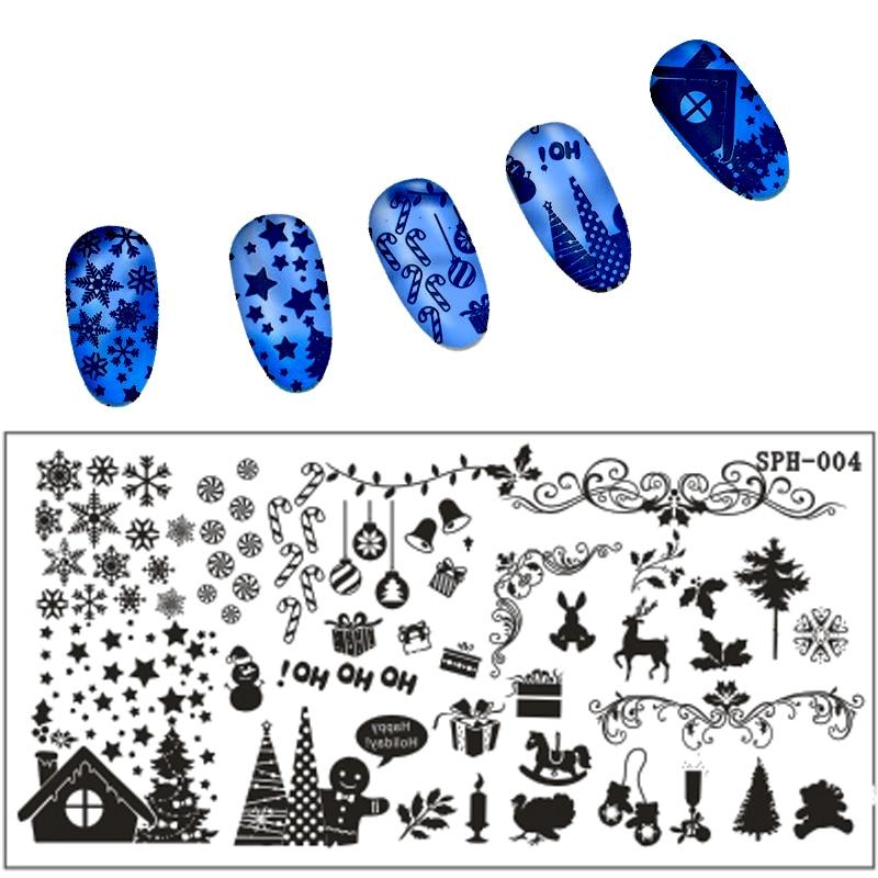 Nové 1 ks Vánoční vzory Zdobení na nehty Zdobení nehtů na nehty Šablony Šablony Nástroje na manikúru