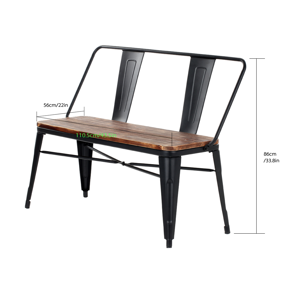 Enjoyable Ikayaa Outdoor Furniture Dining Bench Chair With Backrest Pabps2019 Chair Design Images Pabps2019Com