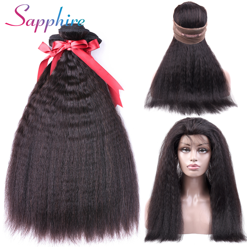 Sapphire Malaysian 360 Lace Frontal With Bundle Kinky Straight Hair With Frontal Closure Human Hair Bundles