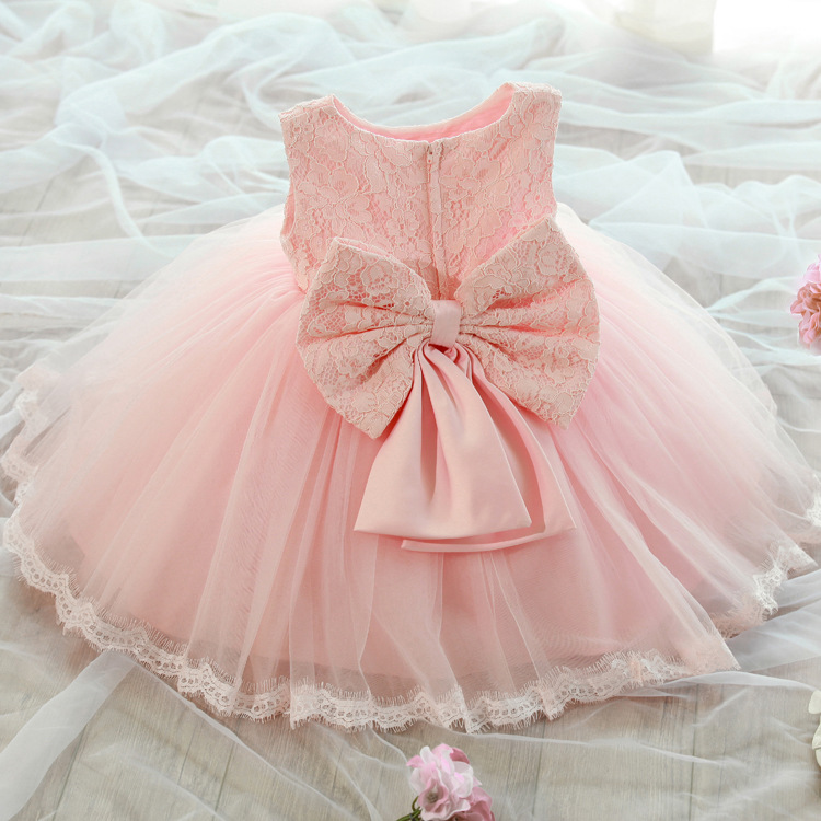 86a511c9 2-8Y toddler Girl birthday Dress Girls pink white Flower Lace Big Bow  wedding Party