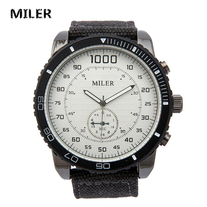 MILER New Punk Style Casual Watch Men Vintage Canvas Strap Super Big Dial Casual Quartz Wristwatch Male Retro Relogio Masculino miler vintage fashion watch women retro leather strap world map casual quartz wristwatch ladies creative clock relogio feminino
