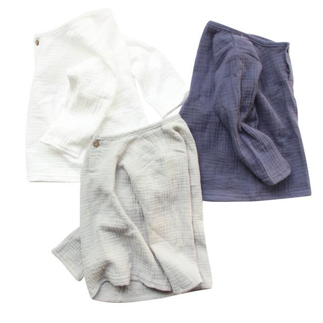 פשתן 2018 כותנה תינוק ילד ילדה קיץ T חולצות חדש פעוט נוח חולצות טי ילדים בגדי ילדי כפתור 80- 130 CM גובה