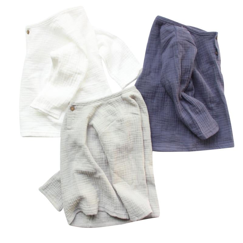 Linen 2018 Cotton Baby Boy Girl Summer T Shirts New Toddler Comfortable Tops Tee Children Clothing Kids Button 80-130CM Height