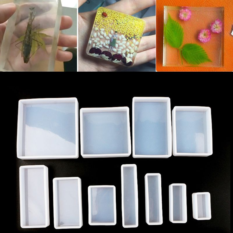 DIY Jewelry Making Resin Mold 11Pcs Square Rectangle Cubic Molds Kit Resin Casing Craft Jewelry Making Tools