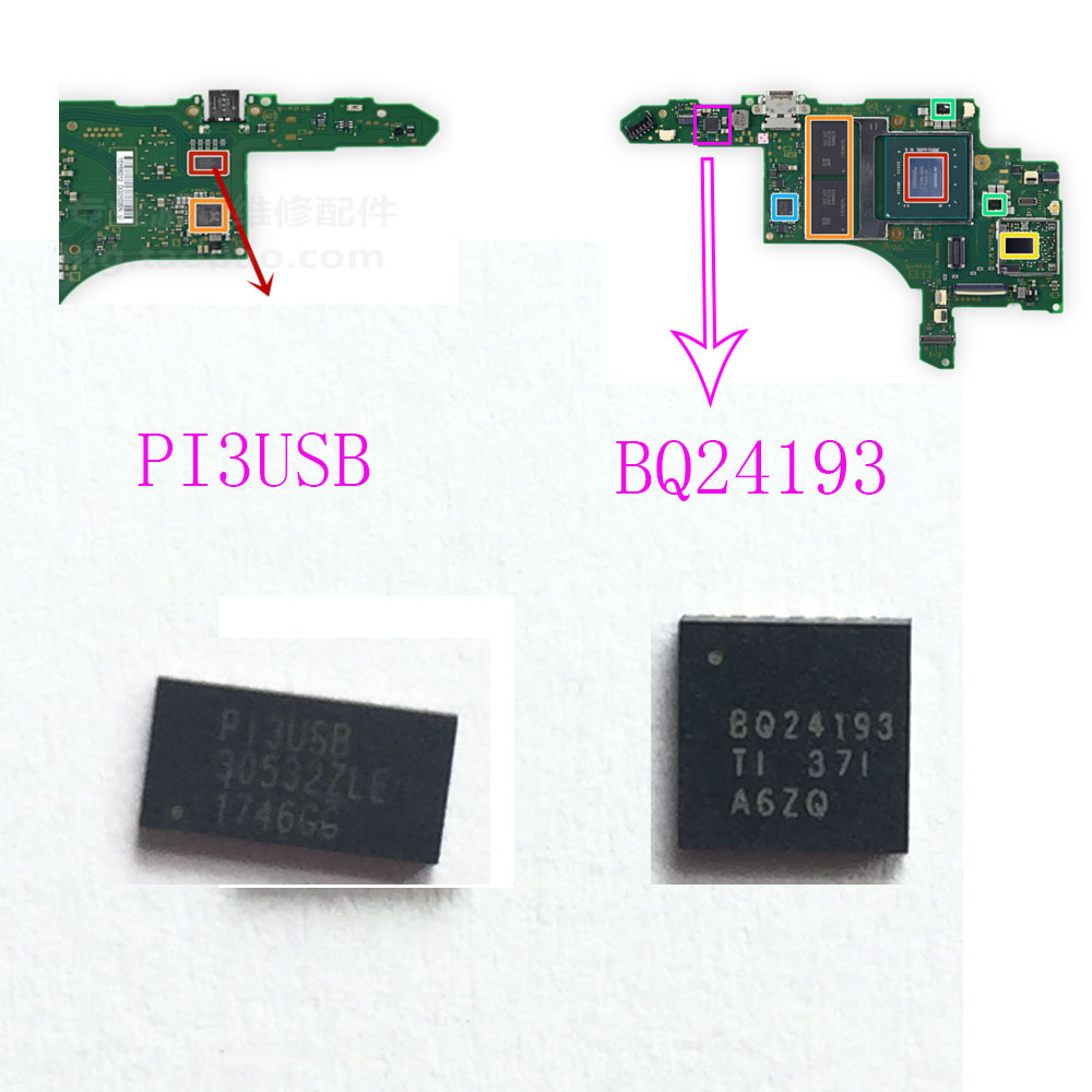 PI3USB BQ24193 Battery Management Charging Original IC Chips For Nintendo Switch Console