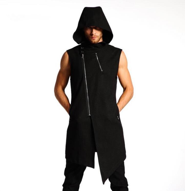 S-6XL!! nouveau style hommes à capuche printemps été gilet sans manches zip bonne chemise version coréenne de la personnalité dans le long gilet