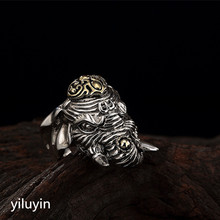 KJJEAXCMY boutique jewelryar S925 Sterling Silver retro Thai silver animal rings, unique personality, domineering men's rings цена 2017