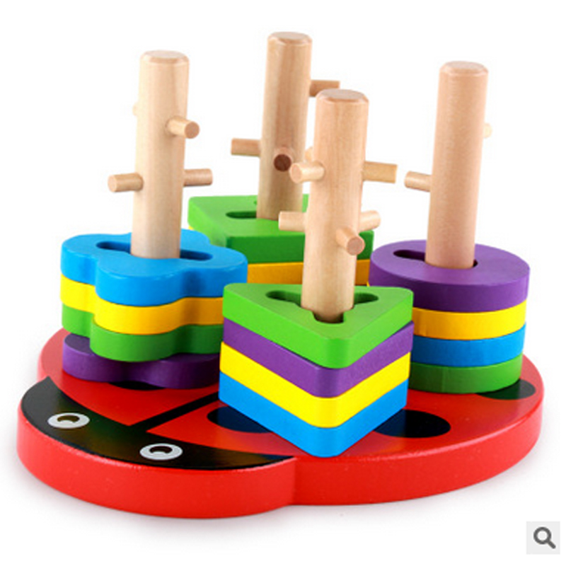 1set free shipping Early childhood children's educational toys wooden pole geometry shape intellige learning tools Toys & Games 9656 early simple machines set