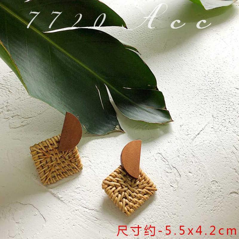 Thời Trang mới Hàn Quốc Handmade Hình Học Bằng Gỗ Lớn Rỗng Ra Mây Vuông Ống Hút Dệt Bông Tai Giọt cho Women2019